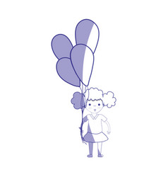 silhouette cute girl with balloons in the hand vector image vector image