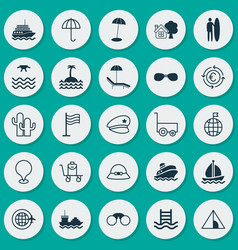 Tourism icons set collection of cop hat coast vector