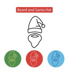 beard and santa hat icon vector image vector image