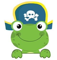Frog With Pirate Hat Over A Sign Board vector image vector image
