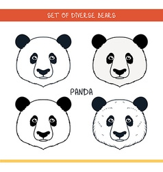 Panda bear Set isolated face heads bear in color vector image