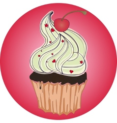 tasty cupcake with cherry on pink background vector image