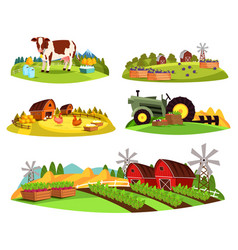 Village countryside views on garden and barn vector