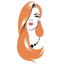 beauty girl red vector image vector image