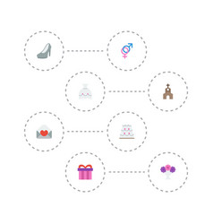 flat icons wedding gown card building and other vector image