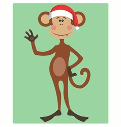 funny monkey Christmas hat vector image vector image