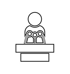 Man speaking from the rostrum black color icon vector