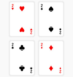 Playing cards showing twos from each suit vector