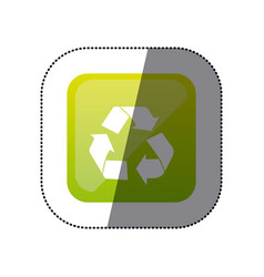 sticker color square with recycling icon vector image