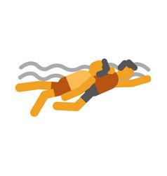 Swimmer saves drowning man icon symbols vector