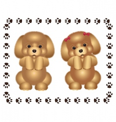 two puppies vector image vector image