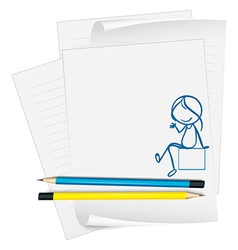 A paper with a sketch of a girl sitting down vector