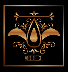 art deco luxury elegant vintage ornament golden vector image