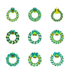 Assembly flat shading style christmas wreath vector