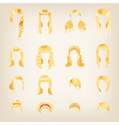 Assortment of female blond hair vector image