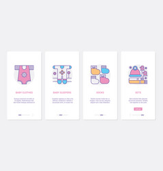 Baby clothes ux ui onboarding mobile app page vector