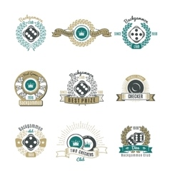 Backgammon Clubs Retro Style Emblems vector image