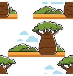 Baobab tree in savannah south africa seamless vector