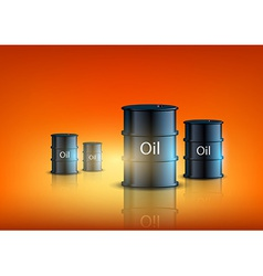 Barrels of fuel on an orange background vector