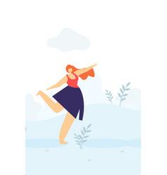 beautiful happy woman dancing outdoors flat banner vector image