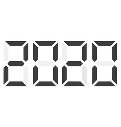 black electronic digits 2020 isolated vector image