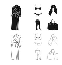 Bra with shorts a women scarf leggings a bag vector