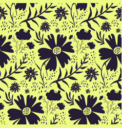 bright yellow and black floral pattern vector image