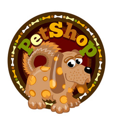 Brown dog is staying in front of logo vector