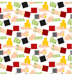 businessman human hands arm holding paper money vector image