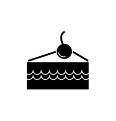 cake slice with cherry icon vector image