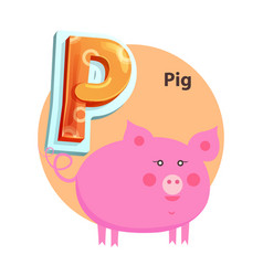 cartoon pig is for p letter children zoo alphabet vector image