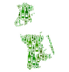 Chinese macau map composition of wine bottles and vector