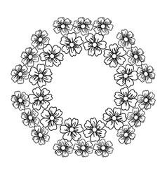 Circular frame deoration floral vector