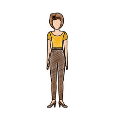 Color pencil drawing of woman with yellow t-shirt vector