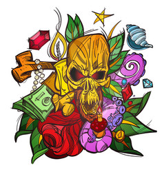 color with a skull money and leaves a sketch of a vector image