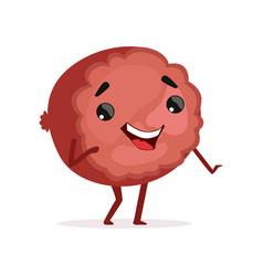 Comic piece of ham with happy face funny cartoon vector