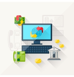 concept of banking online in flat design style vector image