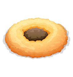 Cookie with chocolate in center vector image