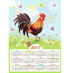 Cute calendar for 2017 with colorful lovely vector