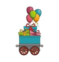 Cute train with gifts vector