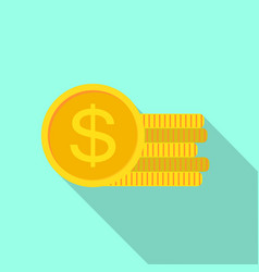 dollar coin icon flat style vector image