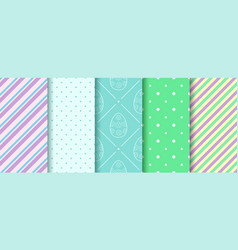 Easter seamless patterns with eggs gingham polka vector