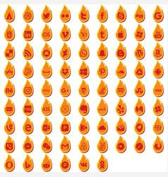 Fire social icons vector