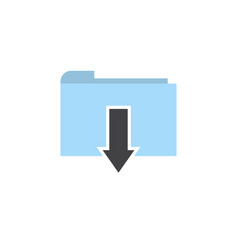 flat folder download icon vector image