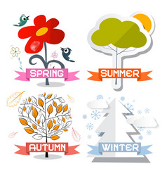 Four Seasons Symbols Isolated on White Background vector image