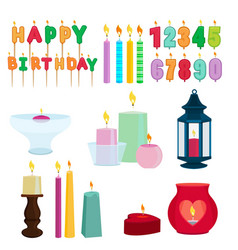 Funny colored candles for birthday party cartoon vector