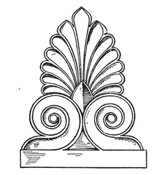 Greek antefix is found in the lower roof line vector