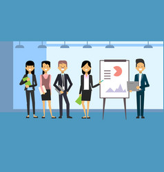 Group of business people leading presentation vector