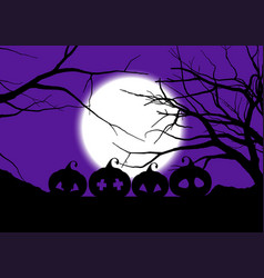 Halloween background with spooky pumpkins vector