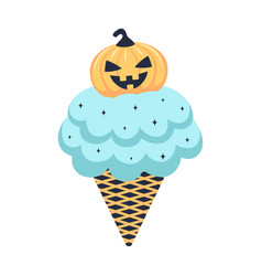 halloween with ice cream isolated on white vector image